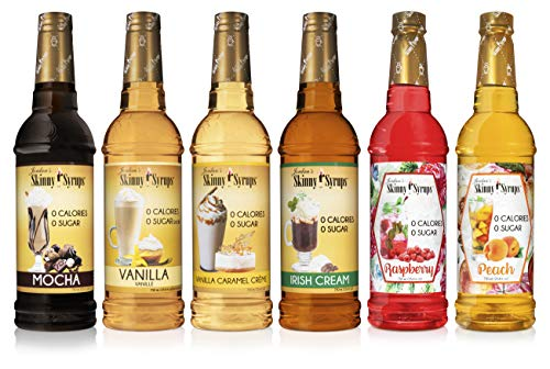 Jordan's Skinny Syrups | Select Syrup Sampler | Mocha, Vanilla, Vanilla Caramel Crème, Irish Cream, Raspberry, Peach | Healthy Flavors with 0 Calories, 0 Sugar, 0 Carbs | 25.36 Ounce - Pack of 6