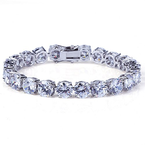 JINAO Silver Plated 1 Row 8MM Lab Simulated Diamond Iced Out Chain Hiphop Tennis Bracelet (White Bracelet, (Hip Hop Chain Bracelet)