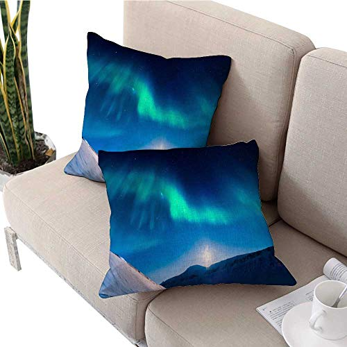 """Decorative Pillow Covers Polar Northern Lights in The Mountains of Svalbard Longyearbyen Spitsbergen Norway Wallpaper Sofa Pillow Covers W 18"""" x L 18"""" 2 pcs"""