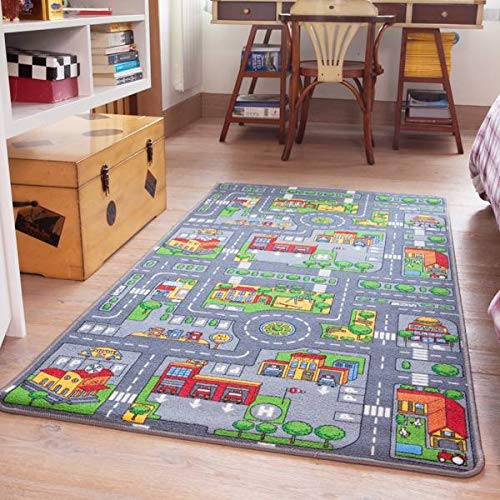 Reversible Road Map Farm Animal Cars Rug Play Mat 80cm x 150cm (2