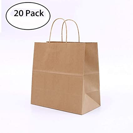 Amazon.com: 20 Pcs Kraft Paper Bag Shopping Bags Boshiho ...