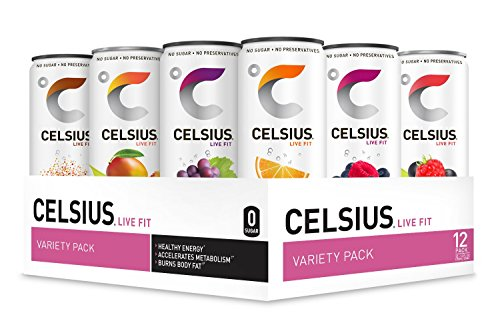 CELSIUS Fitness Drink Original Flavors Variety Pack, ZERO Sugar, 12oz. Slim Can, 12 Pack (Variety Assortment of the 7 Original CELSIUS Sparkling and Non-Carbonated - Assortment Extract Flavors
