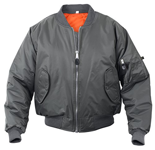 (Rothco MA-1 Flight Jacket, Gun Metal Gray, Large)