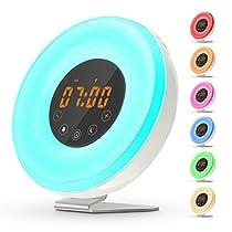 Wake-Up Light , Sveglia Luce con Simulazione Alba,Luce Notturna con FM Radio, 6 Suoni di Allarme Naturale, Controlli Touch and Base in Alluminio Antiscivolo