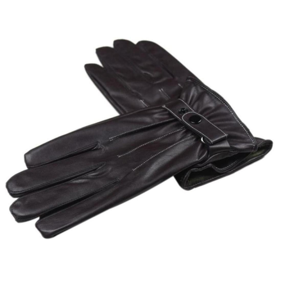 Black Men Gloves Winter Leather Lowprofile Men Leather Winter Gloves Touchscreen Driving Warm Gloves