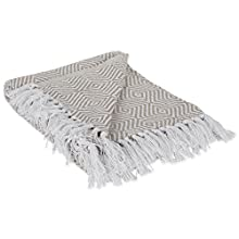 "DII 100% Cotton Geometric Daimond Throw for Indoor/Outdoor Use Camping Bbq's Beaches Everyday Blanket, 50 x 60"", Stone"
