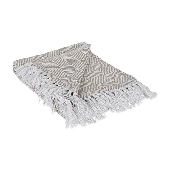 "DII 100% Cotton Geometric Daimond Throw for Indoor/Outdoor Use Camping BBQ's Beaches Everyday Blanket, 50 x 60, Stone - CONSTRUCTION - Throw measures 50 x 60"", 100% Cotton QUALITY IN THE DETAILS - Old-fashioned look with a modern twist with decorative fringe for the perfect finish that won't unravel in the wash FITS THE RUSTIC, VINTAGE, OR DISTRESSED LOOK - This throw has a very chic and trendy look, throw over a couch or chair to add a splash of color and provide warmth on a cold night - blankets-throws, bedroom-sheets-comforters, bedroom - 51sw2DMSYRL. SS570  -"