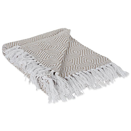 DII 100% Cotton Geometric Daimond Throw for Indoor/Outdoor Use Camping BBQ's Beaches Everyday Blanket, 50 x 60, Stone