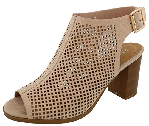 Top Moda Women's Perforated Cutout Slingback Bootie (10 B(M) US, Blush)