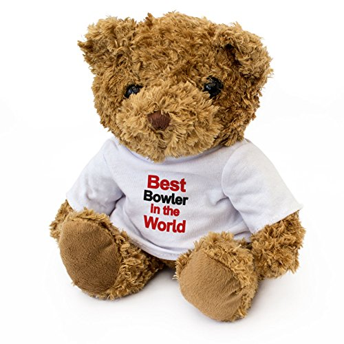 NEW - BEST BOWLER IN THE WORLD - Teddy Bear - Cute Soft Cuddly - Award Gift Present Birthday Xmas