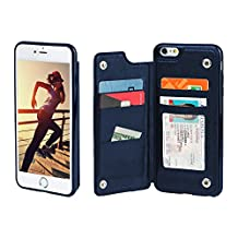 Gear Beast iPhone 6 Plus / 6s Plus Wallet Case, Top View Flip Folio For iPhone 6 Plus/6s Plus Slim Protective PU Leather Case 4 Slot Card Holder Including ID Holder Plus Cash Slot For Men and Women