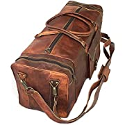 KK's 28″ Inch Real Goat Leather Large Handmade Travel Luggage Bags in Square Big bag Carry On