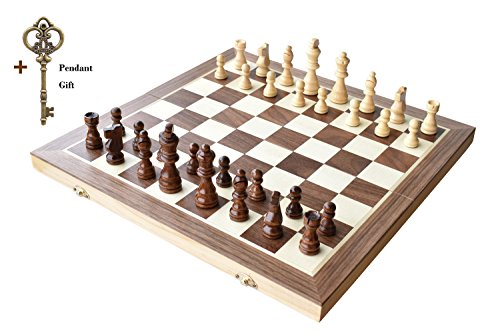 Chess Set, HOWADE 15 X 15 inch Magnetic Foldable Wooden Chess Board Game with Chessmen Storage Slots Unique Crafted Handmade Checkers Tournament Che…