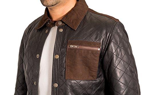 Jacket Nero Nel Occidentale Motociclista Casuale Stile Del Trucker Uomo Denim Cuoio Designer n14tPx