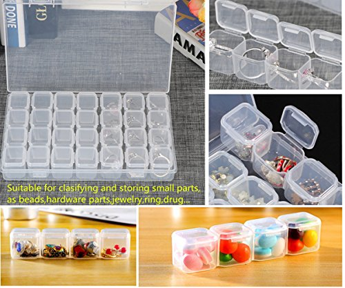 28 Grids Diamond Painting Embroidery Box Plastic Storage Containers Adjustable Bead Case 3 Pack