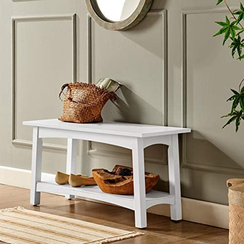 36 w Wood Entryway Bench White Solid Mission Craftsman Transitional Pine Painted Storage
