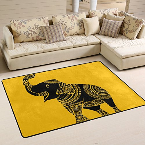 Naanle Tribal Ethnic Elephant Area Rug 2'x3', African Elephant Polyester Area Rug Mat for Living Dining Dorm Room Bedroom Home Decorative