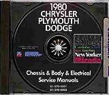 1980 DODGE REPAIR SHOP & SERVICE MANUAL & BODY MANUAL CD INCLUDES: Diplomat, Mirada (S), Aspen (Special), St. Regis. 80