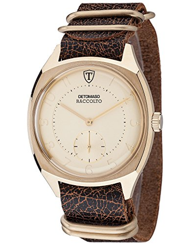 DETOMASO Raccolto Vintage Mens Wrist Watch Quartz Gold Plated Stainless Steel Casing Brown Leather Strap DT1077-B