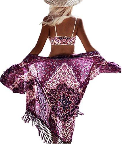 Bsubseach Women Bohemian Purplish Floral Chiffon Bikini Swimsuit Cover Up Swimwear Tassel Cardigan