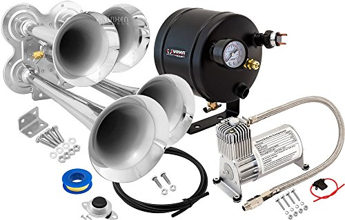 Vixen Horns Loud 149dB 4/Quad Chrome Trumpet Train Air Horn with 0.5 Gallon Tank and 150 PSI Compressor Full/Complete Onboard System/Kit VXO8705/4114 (Truck Set Wiring Complete)