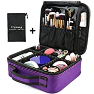 Makeup Bag, ESARORA Portable Travel Makeup Cosmetic Case Organizer Mini Makeup Train Case (10 inch) with Adjustable Dividers for Cosmetics Makeup Brushes Toiletry Jewelry Digital Accessories (Purple)