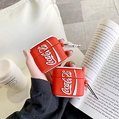 AirPods Pro Case Soft Silicone Cocacola Cover with Bag Hook Clip Keychain for Apple AirPodsPro AirPods3 3D Cartoon Red White Classic Coke Coca Cola Can Protective Cool Fun Funny Hot Girls Men Guys