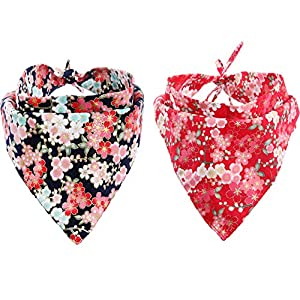 KZHAREEN 2 Pack Dog Bandanas Triangle Bibs Scarf Accessories Japanese Style 46