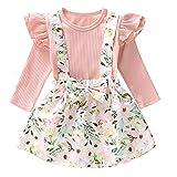 Tianhaik 1-6 Yrs Toddler Girl Ruffle Long Sleeve Shirt + Floral Suspender Skirt Clothes Set