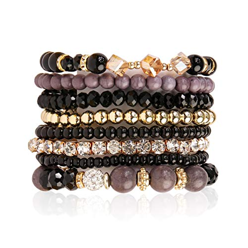 RIAH FASHION Multilayer Beaded Stretch Stacking Bracelets - Multi Strand Colorful Sparkly Beads Statement Wrap Slip-on Cuff Bangles (Mix Bead - Black)