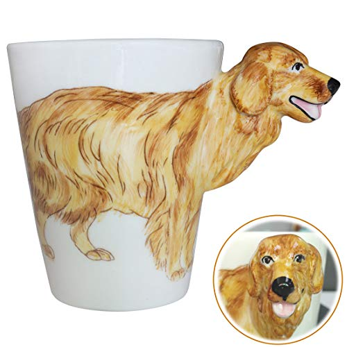 WEY&FLY 3D Coffee Dog Mug, Animals Personalized Tea Cup, Creative Hand Painted 3D Dog Mug, Gift for Lovers Kids Friends (Golden Retriever) ()