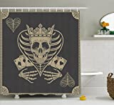 Ambesonne Skull Shower Curtain, Vector Skull Poker Cards Play Game Scary Horror Image with Crown and Heart, Fabric Bathroom Decor Set with Hooks, 70 inches, Dark Grey and Tan Beige