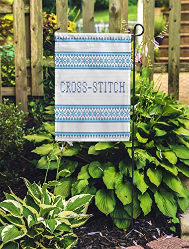 - Semtomn Outdoor Decorative Garden Flag Blue Pattern Cross Stitch Needlework Border Lace Traditional Abstract House Yard Flag 12
