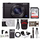 Sony Cyber-shot DSC-RX100 IV Digital Camera with Sony Attachment Grip and 64GB SDXC Accessory Bundle