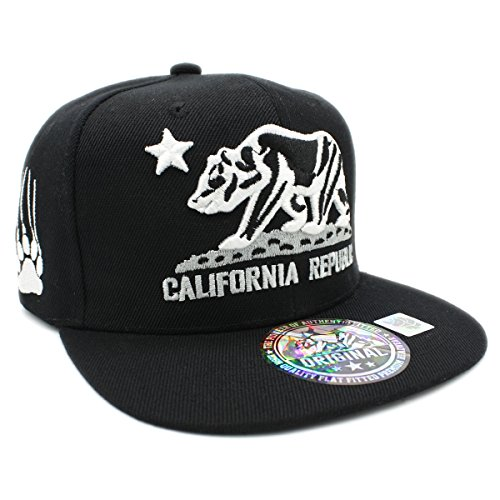 Embroidered CALIFORNIA REPUBLIC with BEAR CLAW SCRATCH Snapback Cap (BLACK/BLACK) - Black Hat Bear