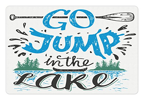 Lunarable Cabin Pet Mat for Food and Water, Vintage Typography Inspirational Quote Lake Sign Canoe Fishing Sports Theme, Rectangle Non-Slip Rubber Mat for Dogs and Cats, Blue Black Green