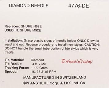 NEW Turntable Needle// Stylus for SHURE RXT5 SHURE RXP3 SHURE RXT6 4776-DE 776-DE
