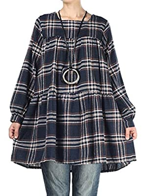 Mordenmiss Women's Plaid Tops Blouses Long Sleeve Pleated Loose Tunic Shirt