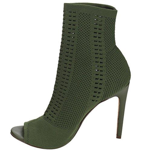 Beston De43 Womens Öppen Tå Mode Sticka Strumpa Fotled Tossor Med Stilettklackar Oliv