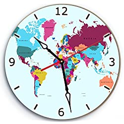 SofiClock Wall Wood Clock World Map With Arabic Numerals 12 Best Gift for Decor Home, Office, Kitchen