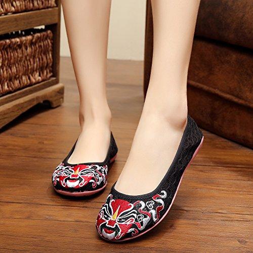 suola Scarpe biancheria stile netto etnico DESY moda tendine filato ricamati femmina Black comodi scarpe gtdqqw6