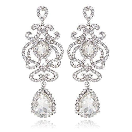 Janefashions Clear White Peach Austrian Crystal Rhinestone Dangle Drop Chandelier Earrings Earring Studs Silver Gold Tone Bridal Jewelry Birthday Gift Wedding Dance Party E12169 (Clear/Silver)