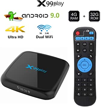 Alician Electronic for X99 Play Smart TV Box Android 9.0 4GB 64GB Inalámbrico IPTV Box 4K USB Set Top Box 5G WiFi Netflix Youtube Google Play PK H96 MAX Black U.S. regulations: