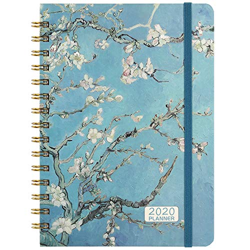 "2020 Planner - 2020 Weekly & Monthly Planner Jan - Dec with Flexible Hardcover, 8.46"" x 6.37"", Strong Twin- Wire Binding, 12 Monthly Tabs, Inner Pocket, Elastic Closure"