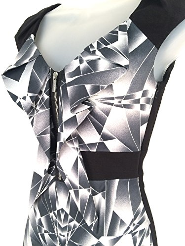 Multi Texture Grey Print Graphic UK 6 Dress Pencil DK092 KAREN Black MILLEN Size FzCqwxf