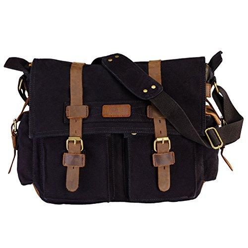 LUXUR Casual Vintage Canvas Messenger Bag Military Satchel Shoulder Bag for 15 Inch Laptop for Men and Women Black Large