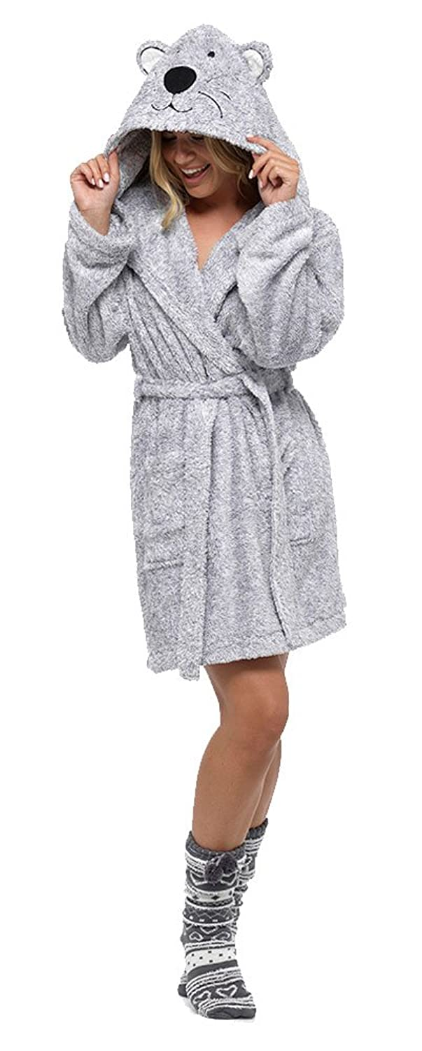 Ladies Supersoft Warm Fleece Animal Hooded Wrap Over Dressing Gown ...