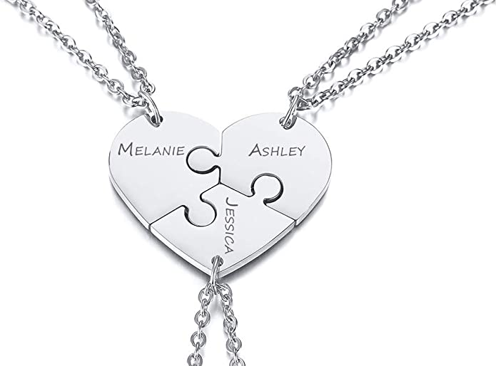 PJ Jewelry Personalized Custom Stainless Steel 3pcs Best Friends Forever BFF Puzzle Piece Necklaces