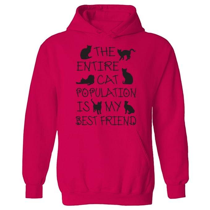 Es para mujer diseño de gato toda la flota de población My Best Friend sudadera con capucha de lema: Amazon.es: Ropa y accesorios