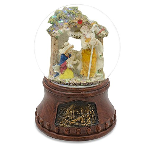 Nativity Snowglobe Scene (BestPysanky Holy Family with Angels Nativity Scene Musical Snow Globe)